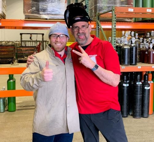 Lincoln Electric's Connor Meehan with Noble Gas Solutions' Bob Jacobs