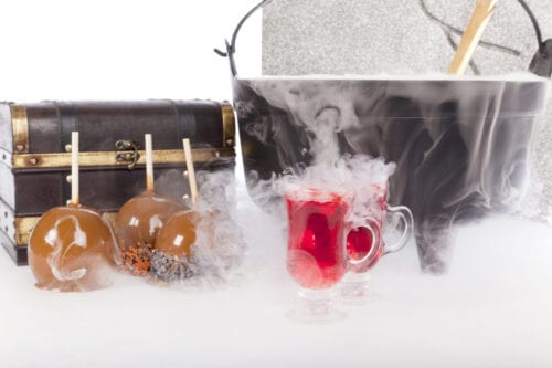 Boiling and Bubbling Halloween Punch with Caramel Apples